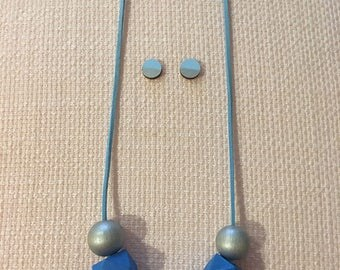 Mad about Blue Silver Wooden Statement Geometric Necklace & earrings set