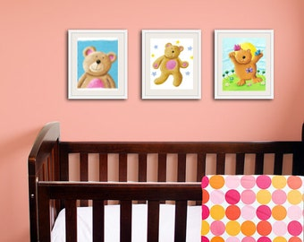 Сute Bears Set of  3 Prints