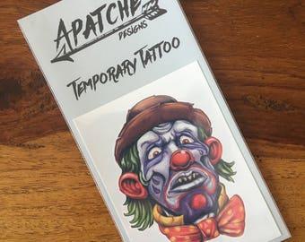 Bow Tie Scary Clown Temporary Tattoo