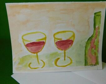 Happy hour, Merlot, watercolored card, Lori Berry, Happy hour invitation, handpainted card, wine bar, frameable cards, blank card, wine art