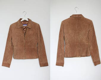 Suede Vintage Indian Jacket Leather Camel Brown Boho Simple Retro 100% Genuine Extra Small Size Hipster / Small size