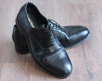 Vintage Black Oxfords Handmade Shoes Wingtips Men Teen Retro British Made by hand Leather Genuine Excellent Condition Samuel Windsor / UK9