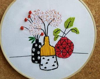 Vases embroidery hoop