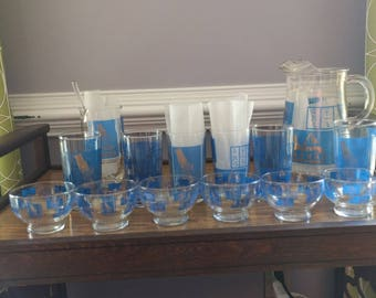 Mid Century Vintage Egyptian Themed Barware Set Royal Blue and 22K Gold