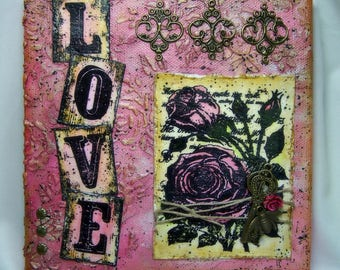 Mixed Media Canvas - Love