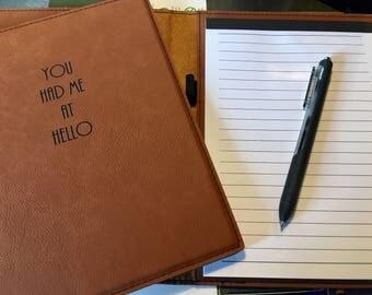 "Engraved 7"" x 9"" Rawhide Leatherette Mini Portfolio with Notepad - HELLO"