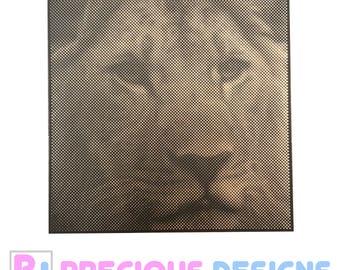 Wooden dot picture Lion, art, canvas, portrait, wall decor , halftone