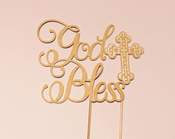 Glitter gold God Bless cake topper and cross cupcake toppers
