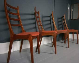 vintage retro mid century Danish teak dining chairs by Korup Stolefabrik designed by Kai Kristiansen