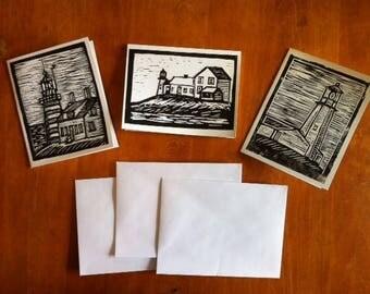 Maine lighthouse notecard set