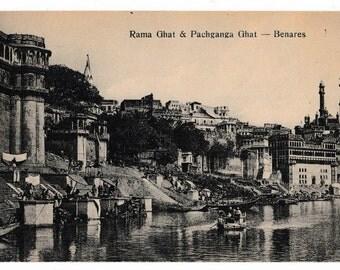 Antique Postcard Rama Ghat and Pachanga Ghat Benares India Circa 1910 Ganges River