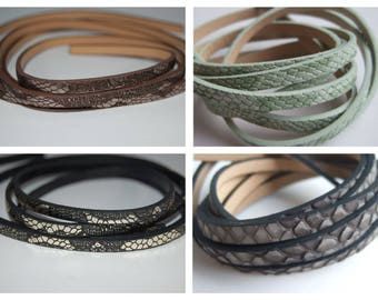 1 m leather flat 5 mm effect Snake (black, green, gray, or brown)