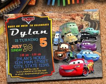 Cars Birthday Invitations, Cars Invitation, Lightening McQueen Invitation, Lightening McQueen Birthday Invitation, Cars Invites