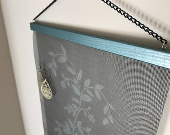Teal/Blue Floral Wall Hanging Jewelry Organizer
