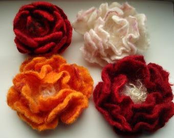 Art wear rose , peony flower brooch 100% Merino wool silk fleece hand felted