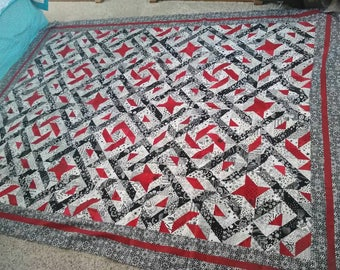 Beautiful black and white with touches of red quilt top