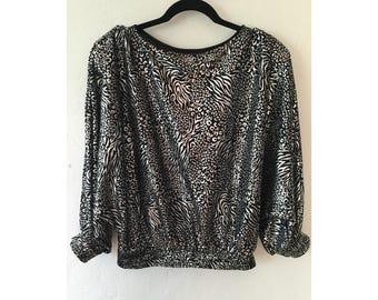 Leopard Print Shirt/ Metallic Shirt/ Vintage Pullover/ Silver Shirt/ Silver Blouse/ Leopard Print/ 80's Blouse / Glam Rock