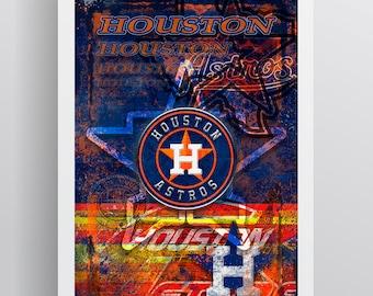 Houston Astros Poster, Houston Astros Artwork Gift, Astros Layered Man Cave Art