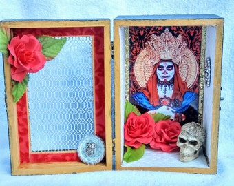 Santisima Muerte Altar Box, Shrine, Shadow Box, Hoodoo, Voodoo, Pagan, Mexican folk religion, Santa Muerte
