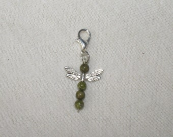 Charm pendant with Dragonfly unakite.