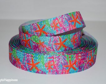 """Multi Colored Starfish 7/8"""" Grosgrain Ribbon 746 By the Yard"""