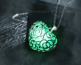Glow in the Dark Pendant, Green, Luminous, Heart Necklace, Glowing, Fluorescent, Locket, Love, Romance, Magic, Fantasy