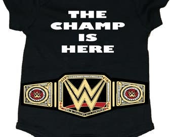 The Champ Is Here Baby Bodysuit/Creeper With Belt
