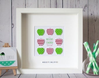 Teacher thank you frame, Thank you gift, End of year gift, Apple frame, Red and green, Personalised frame, Teacher, Box frame