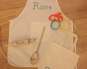 Children's Baking Set - Wooden Rolling Pin, Spoon, Apron and Bag