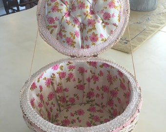 Sewing basket, sweet pink floral