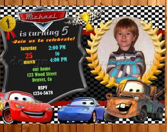 Cars birthday invitation Photo Cars invitation printables Cars birthday party Cars theme Cars party supplies lightning mcqueen cars invite