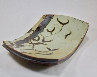 13 inch Serving Platter, Stoneware Iron Oxide Ink Design