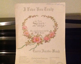 "Vintage 1938 Sheet Music ""I Love You Truly"" from Seven Songs: As Unpretentious as the Wild Rose, High in B Flat"