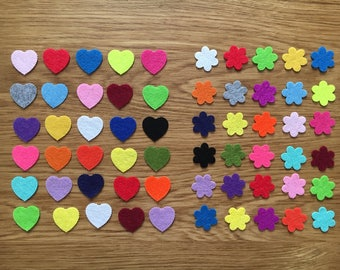 Die cut felt flowers and hearts, die cut shapes, felt flowers and hearts