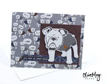 "Bulldog ""you make my heart smile"" greeting card"