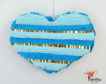 Blue fancy heart Piñata