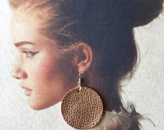 14K Rose Gold Leather Circle Earrings