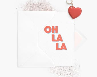 Greeting card | Oh La La. Exclamation. A6 folded card | Envelope white | Folded Greeting Card + envelope White