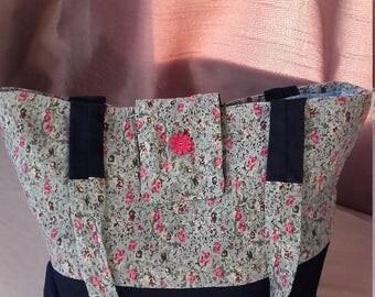 Denim/Cotton floral tote bag navy