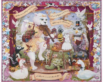 """Enchantimals Fine Art Print: """"A Cat Came Fiddling Out of a Barn; Mother Goose Nursery Rhyme"""""""
