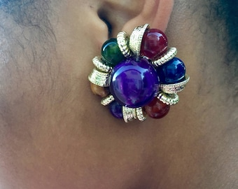 Vintage Multicolored Bejeweled Bollywood Earrings