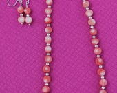 Peachy Coral Necklace with Matching Earrings (Can Be Sold Separately)