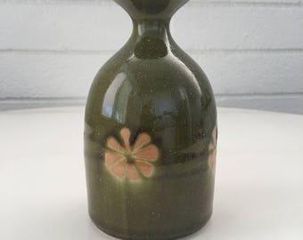 OMC (Japan) Glossy Olive Green Flower Bud Vase