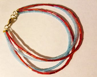 "9.25"" Blue and pink anklet"