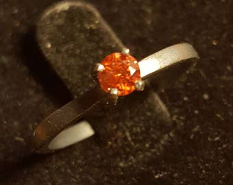 SALE : 0.19ct red cognac diamond in oxidized silver sterling solitaire ring