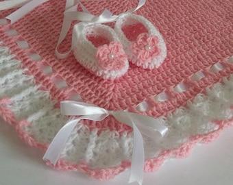 Crochet Baby Blanket / Afghan and Booties Pink White Christening Baptism Granny Square Handmade Crochet Blanket, Baby Girl Set Shower Gift