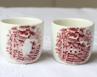 Two Vintage Mini French Coffee cups, Mini cups, Tiny coffee cups