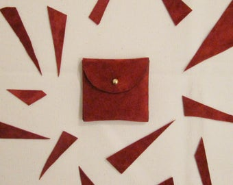 Coin purse / wallet / minimalist red clay / leather coin purse