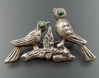 Old Mexico pre-eagle era sterling silver turquoise birds nest brooch pin