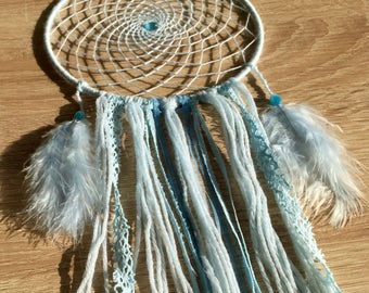 DreamCatcher child baby, sensor of dreams blue, woven hand, Decoration, catches dreams delicate, baby room, ethnic décor